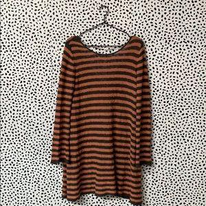 Free People Striped Gray & Orange Sweater Dress